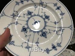 Royal Copenhagen Blue Fluted Plain Lace 177 Luncheon Plates Set 4 Chipped AS IS