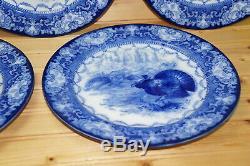 Royal Doulton Watteau Turkey (6) Dinner Plates, 10 1/2 Flow Blue-NO Crazing