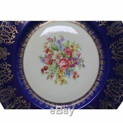 Royal Epiag Czeckoslovakia Cobalt Blue Floral Dinner Plates Set of 8