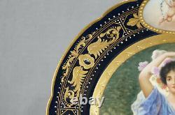 Royal Vienna Style Hand Painted Chrysanthemum Lady Cherubs Cobalt Portrait Plate