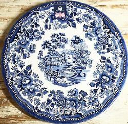 Royal Wessex Queen's Tonquin SET of 4 Dinner Plates Blue & White Old World Charm
