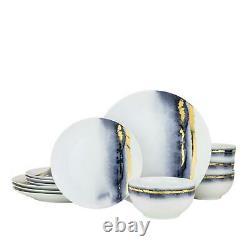 Royalty Porcelain 12-pc Dinner Set'Blue Lazuli', Bone China Porcelain