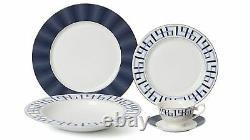 Royalty Porcelain 20-pc Bentley Cobalt Dinner Set for 4, 24K Gold-Plated