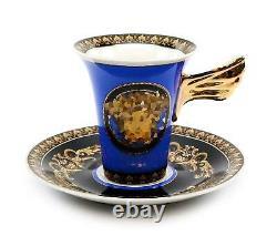 Royalty Porcelain Vintage 49-pc Dinnerware Set'Blue Medusa', Premium Bone China