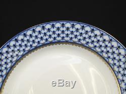 Russian Cobalt Blue Net 6 Dinner Plates 10.5, St Petersburg 24K Gold Bone China