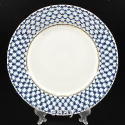 Russian Imperial Lomonosov porcelain Dinner Plate Cobalt Net 22K Gold 10.43