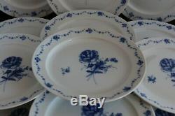 SET 12 Furstenberg Lottine German blue & white china porcelain DINNER PLATES