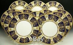 SET OF 12 MINTON FOR TIFFANY & Co. H3143 RAISED GOLD COBALT BLUE DINNER PLATES