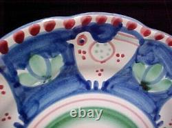 (SET OF 12) Solimene Vietri 9 1/2 Dinner Plate Blue Chicken CAMPAGNA EXCELLENT