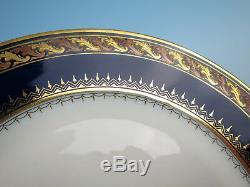 Set 12 Antique Bohemian Cobalt Raised Gold Bronze Dinner Plates Czech Porcelain