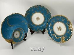 Set/3 Signed Antique Haviland Limoges France Scalloped Blue Gold Plates + Dip