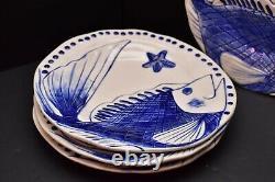 Set 4 BLUE SKY Ceramics CLAYWORKS Magic SEA Dinner Plates 10 Diane FISH pottery