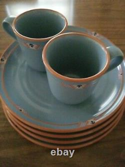 Set 4 Noritake Stoneware Blue Adobe Dinner Plates 10.25 Set 2 Coffee Mugs 8678
