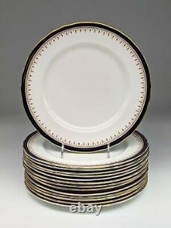 Set 6 & 8 Aynsley Bone China Leighton Cobalt and Gold Dinner Plates