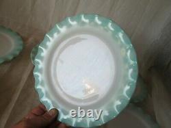 Set 6 Hazel Atlas TURQUOISE CRINOLINE Ruffled Ripple Vintage 9 Dinner Plates
