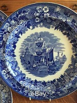 Set 6 Wedgwood Ferrara Blue And White 10 Dinner Plates Ship Scene England