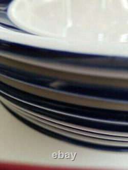 Set 7 Country Crock Stoneware Oven to Table Plates Cobalt Blue Bands Tienshan
