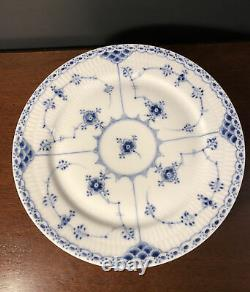 Set 7 Royal Copenhagen 577 Blue Fluted Half Lace 9.75 Dinner Plates