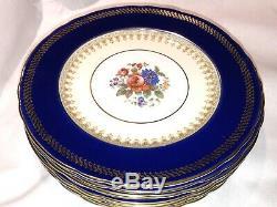 Set 8 Aynsley Cobalt Blue Gold Dinner Plate Pink Rose Floral 10 3/8 FREE SHIP