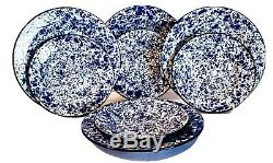 Set 8 CGS International Enamel Ware Dinner Plates & Bowls Blue & White Splatter