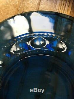 Set 8 Indiana Glass Kings Crown Thumbprint Cobalt Dinner Plates 10 Vintage 60s