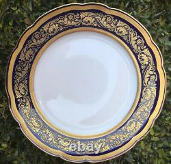 Set Of 12 Bernardaud Vendome Cobalt 10.25 Dinner Plates Gold Encrusted