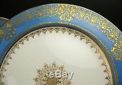 Set Of 12 Minton Raised Gold Blue & Medallion Dinner Plates Impressed Mark
