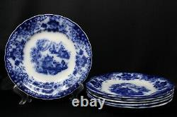 Set Of 6 Antique Rorstrand Oriental Flow Blue Transferware 9 5/8 Dinner Plate #2