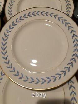 Set Of 6 Syracuse China SHERWOOD DINNER PLATES Blue Laurel Wreath Ivory 10 EC