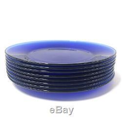 Set Of 8 Cobalt Blue Glass Dinner Plates 10 1/2