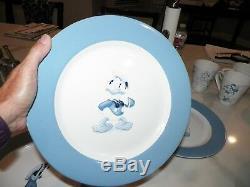Set Of Four Disney Blue & White Ironstone Dinner Plates Mickey Minnie Donald Goo