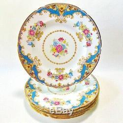 Set Of Six Shelley Blue Scalloped Dinner Plates Blue Tan Border English Floral