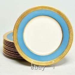 Set Of Twelve (12) Lenox For Ovington Brothers Dinner Plates, Blue/gilt, 10.5