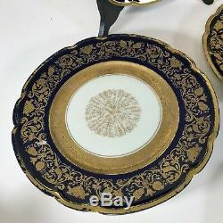 Set of 10 Black Knight Bavaria Dinner Plate Cobalt Blue Gold Encrusted Gilt Foot