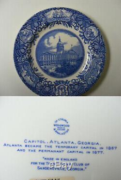 Set of 12 Blue Wedgwood Georgia Historical Dinner Plates