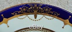 Set of 12 Mintons Dinner Plates Cobalt Blue & Raised Gold Service Cabinet 11 10