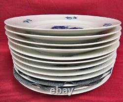 Set of 12 Royal Copenhagen Blue Flower Braided 8097 Dinner Plates MINT