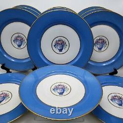 Set of 12 Vintage Blue & Gold Limoges Cabinet Dinner Plates with Flower Basket
