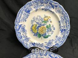 Set of 2 Spode England YELLOW & BLUE FLORAL 9 1/2 Dinner Plates