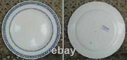 Set of 4 Antique Stratford Wedgwood Etruria England Dinner Plates White withBlue
