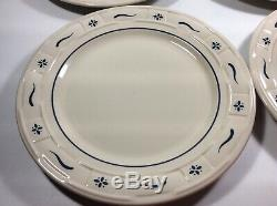 Set of 4 Longaberger Pottery 10 Woven Traditions Blue Dinner Plates USA