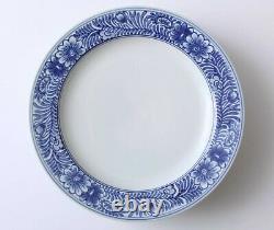 Set of 4 Pottery Barn ELSIE Dinner Plates Blue and White Flowers 10