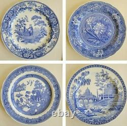 Set of 4 Spode Blue Room Collection China Dinner Plates 10.5 Blue & White