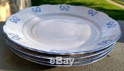 Set of 4 VISTA ALEGRE Ruban Blue 10-1/2 DINNER Plates Vintage