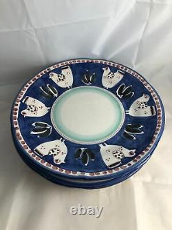 Set of 4 Vietri Italy Pottery CAMPAGNA CHICKEN Blue, Black & Red Dinner Plates