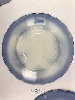 Set of 6 Antique Henry Alcock Touraine Flow Blue 10 Porcelain Dinner Plates