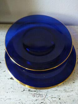 Set of 6 Cobalt Blue Glass Dinner Plates With GOLD TRIM Large 12