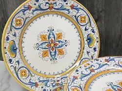 Set of 6 Vintage Grazia Deruta Italy Dinner Plates 9 5/8 Blue Yellow Majolica