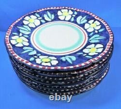 Set of 7 SOLIMENE VIETRI Italy BLUE FLOWER DINNER PLATES (MINT)