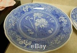 Set of 7 Spode Blue Room Collection Dinner Plates 10 1/4 White Blue